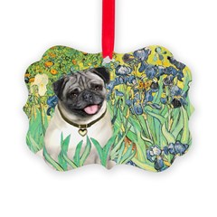 IRISES-Pug18-fawnsmile.png Picture Ornament