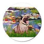 MP-LILIES2-Pug1.png Round Car Magnet