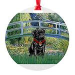 MP-BRIDGE-Pug-Blk14-RedC.png Round Ornament