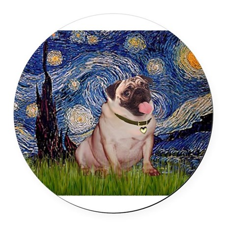 MP-STARRY-Pug2-fawn.png Round Car Magnet