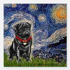 """MP-STARRY-Pug-Blk14.png Square Car Magnet 3"""" x 3"""""""