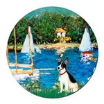 Rat Terrier - Sailboats.png Round Car Magnet