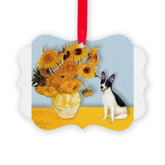 Rat Terrier - Sunflowers.png Ornament