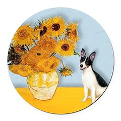 Rat Terrier - Sunflowers.png Round Car Magnet