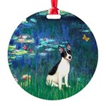 Rat Terrier - Lilies 5.png Round Ornament