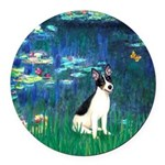 Rat Terrier - Lilies 5.png Round Car Magnet