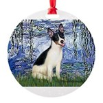 Rat Terrier - Lilies 6.png Round Ornament