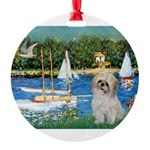 5.5x7.5-Sailboats-ShihPad.png Round Ornament