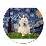 MP-STARRY-Westie1.png Round Car Magnet
