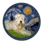 WE-Starry-Wheaten1.png Round Car Magnet