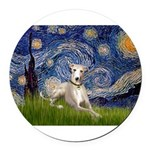 5.5x7.5-Starry-Whippet2.png Round Car Magnet