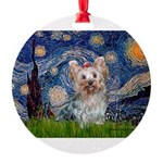 MP-STARRY-Yorkie-Tess.png Round Ornament
