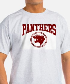 Panther Circle Head DK RED Ash Grey T-Shirt