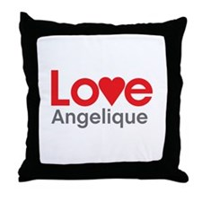 I Love Angelique Throw Pillow