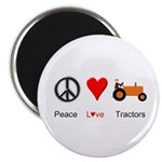 "Peace Love Orange Tractor 2.25"" Magnet (10 pack)"