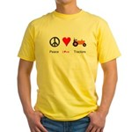 Peace Love Orange Tractor Yellow T-Shirt