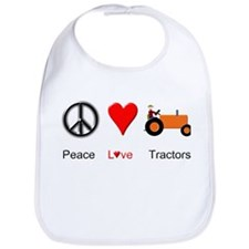 Peace Love Orange Tractor Bib