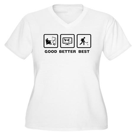 Ice Hockey Women's Plus Size V-Neck T-Shirt