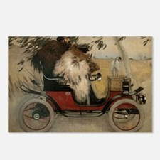 Vintage Painting of Car and Dogs Postcards (Packag