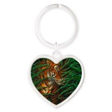 Tiger In The Jungle Heart Keychain Keychains