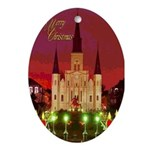 Cathedral Night Art Oval Ornament