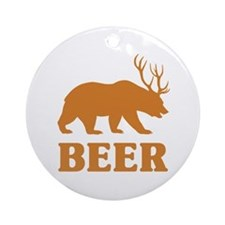 Bear+Deer=Beer Ornament (Round)