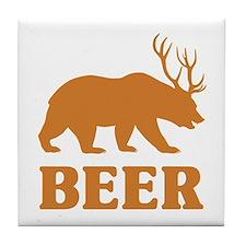 Bear+Deer=Beer Tile Coaster