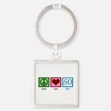 Peace Love 50 Square Keychain