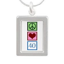 Peace Love 40 Silver Portrait Necklace