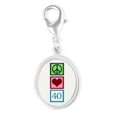 Peace Love 40 Silver Oval Charm
