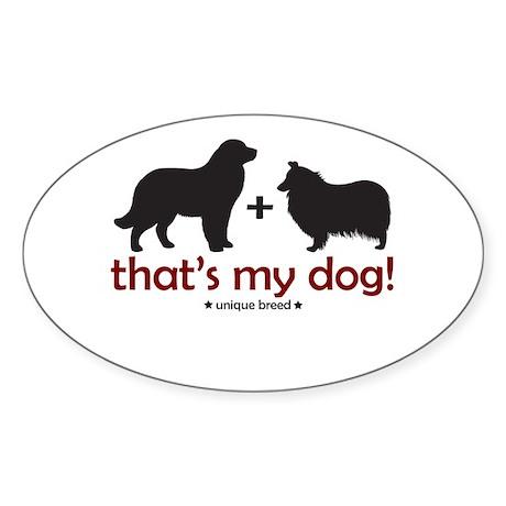 Newfoundland/Collie Oval Sticker