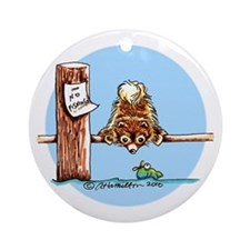 Pomeranian Go Fish Ornament (Round)