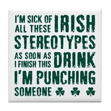 Irish Stereotypes Tile Coaster