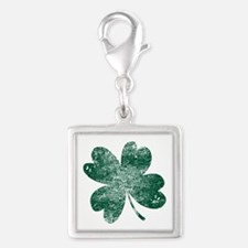 Vintage Lucky Shamrock Silver Square Charm