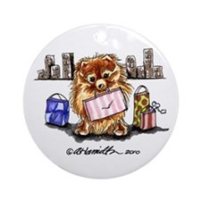 City Pomeranian Ornament (Round)