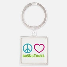 Peace Love Basketball Square Keychain
