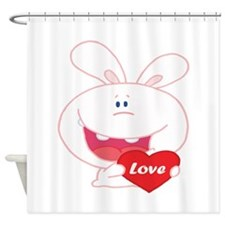 White Love Bunny Shower Curtain