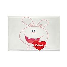White Love Bunny Rectangle Magnet