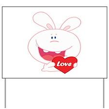 White Love Bunny Yard Sign