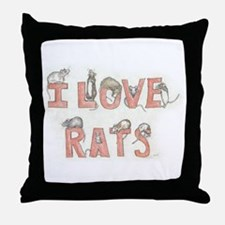 I LOVE RATS Throw Pillow