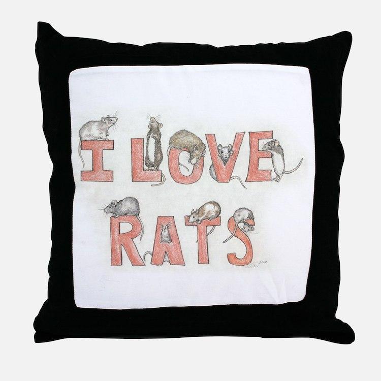 I LOVE RATS Throw Pillow
