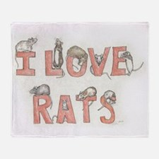 I LOVE RATS Throw Blanket