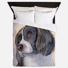 Springer spaniel waiting for a walk Queen Duvet
