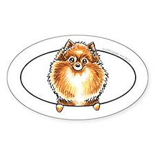 Orange Pomeranian Peeking Bumper Decal