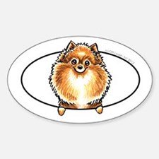 Orange Pomeranian Peeking Bumper Decal