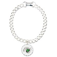 Tribal Green Heart and Symbols Charm Bracelet, One