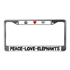 Peace-Love-Elephants License Plate Frame