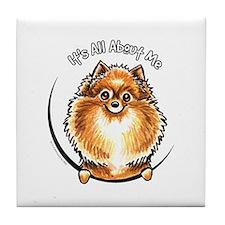 Orange Pomeranian IAAM Tile Coaster