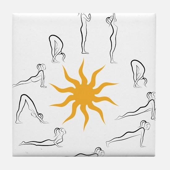 yoga sun salutation Tile Coaster