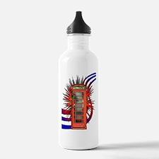British Red Telephone Box Art Water Bottle